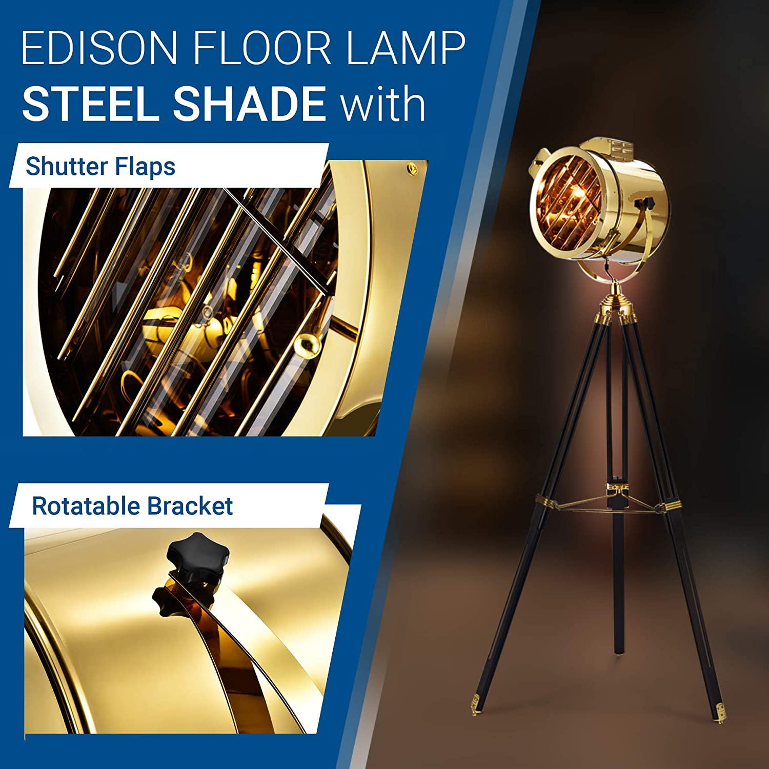 E26 Searchlight Floor Lamp Tripod Light Inc. Tripod Not Included Edison Shade 110V Hyperikon Marine Floor Lamp 12.6-inch Gold Steel Shader for Nautical Light Stand Retro Industrial Floor Lamp