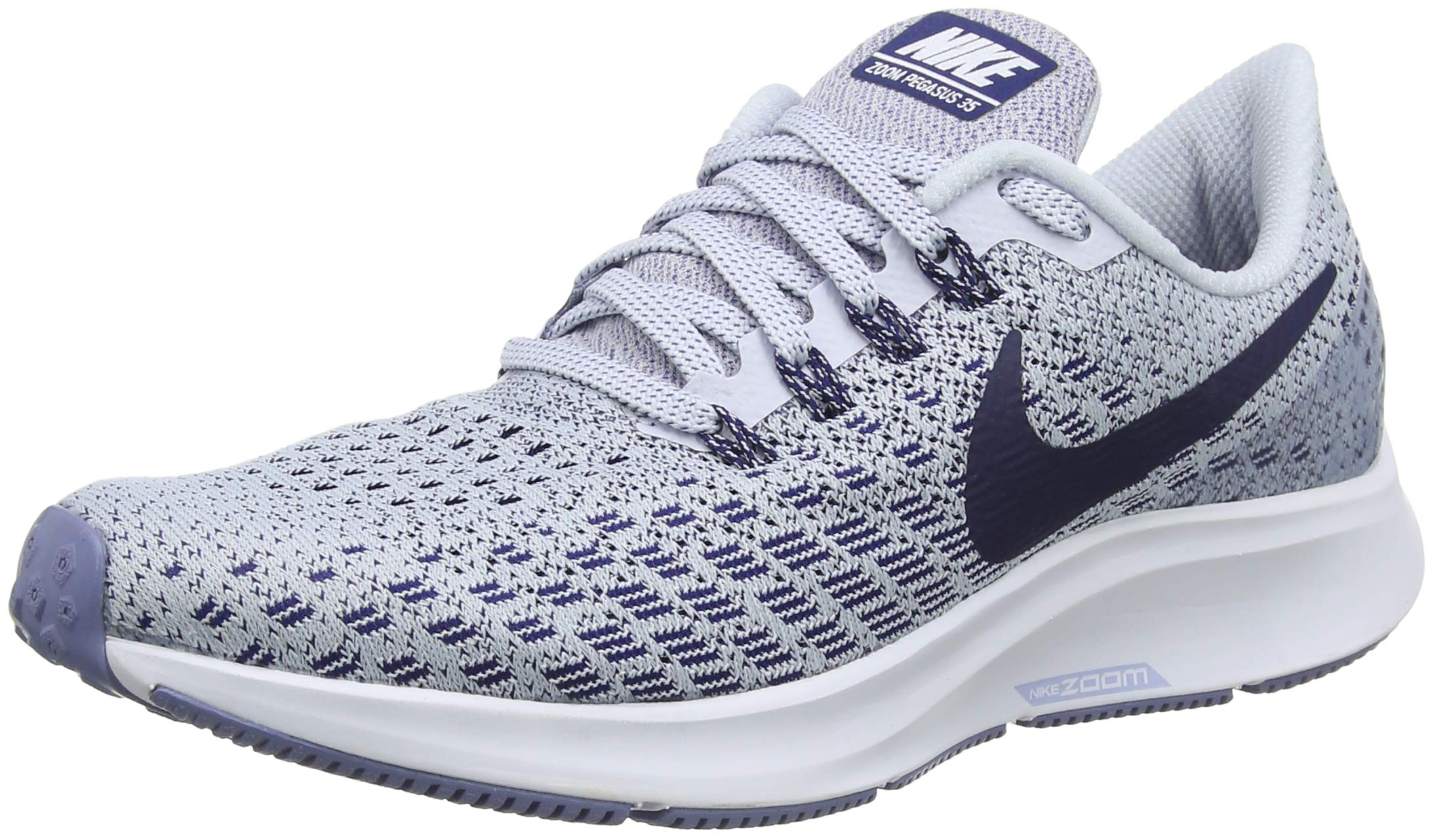 NIKE Womens Air Zoom Pegasus 35 Running Shoes, Football Grey/White/Aluminum/Blue Void, 8 B(M) US