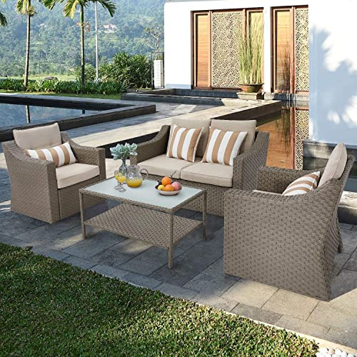 SOLAURA Outdoor Patio Furniture Set 4-Piece Conversation Set All Weather Wicker Furniture Sofa Set