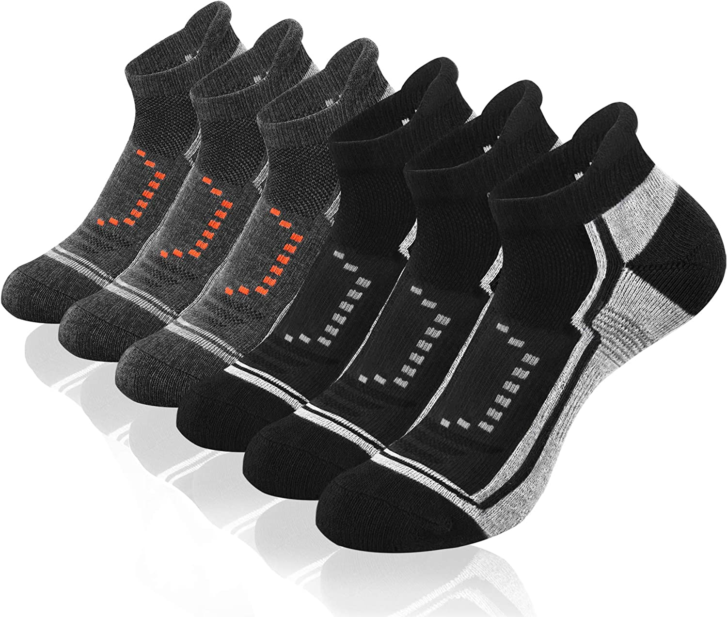9IUOOM Men's Athletic Ankle Performance Socks, Running Sports Comfort Cushioned Breathable Low Cut Socks (6pack)