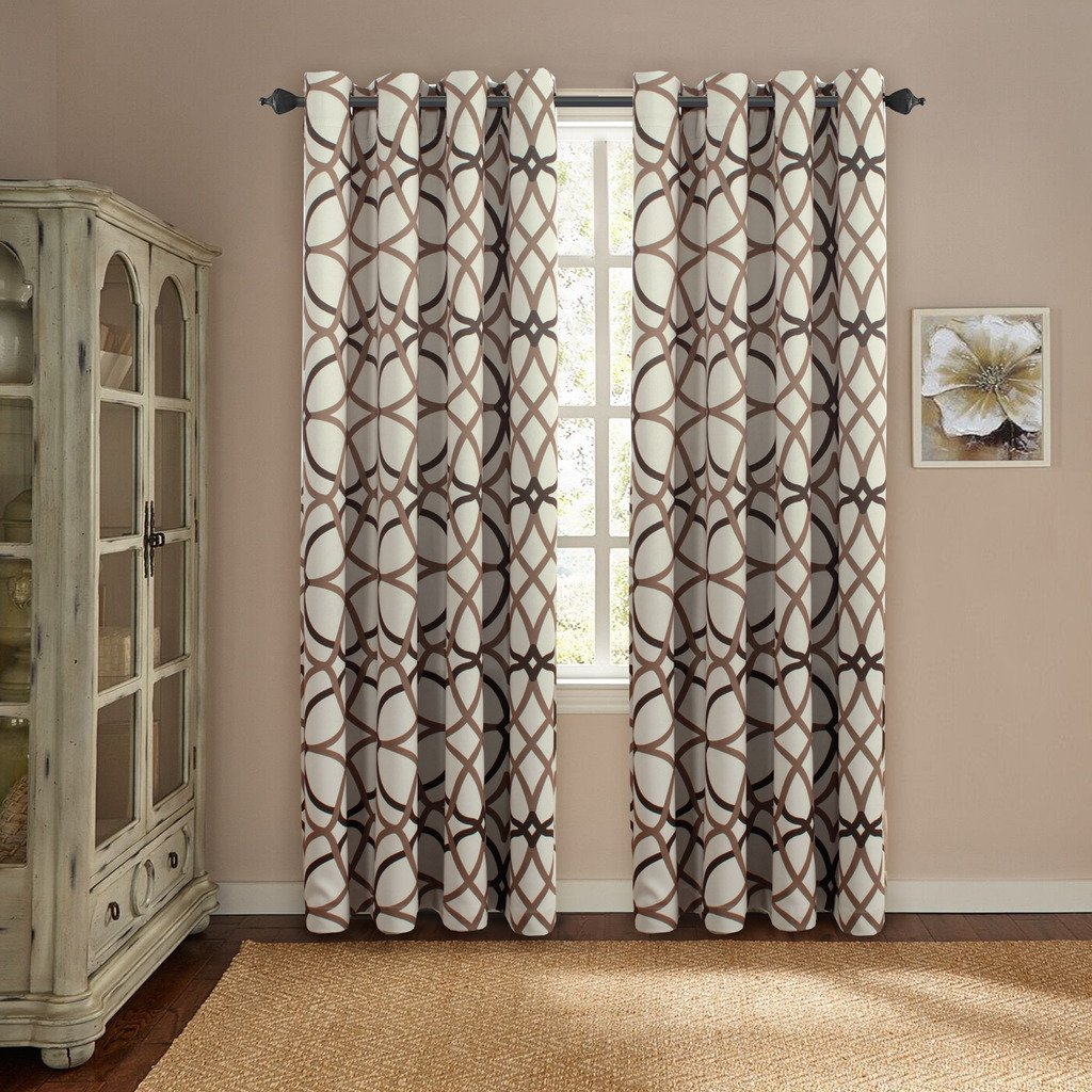 H.Versailtex Thermal Insulated Blackout Grommet Curtain Drapes Taupe and Brown Geo Pattern