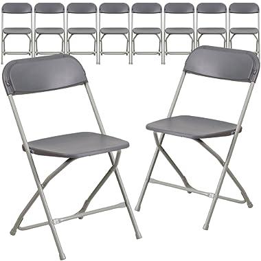 Flash Furniture 10 Pk. HERCULES Series 800 lb. Capacity Premium Grey Plastic Folding Chair