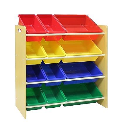 Etonnant Pidoko Kids Toy Storage Organizer   Wooden Childrenu0027s Storage Rack, With  Plastic Bins (Natural