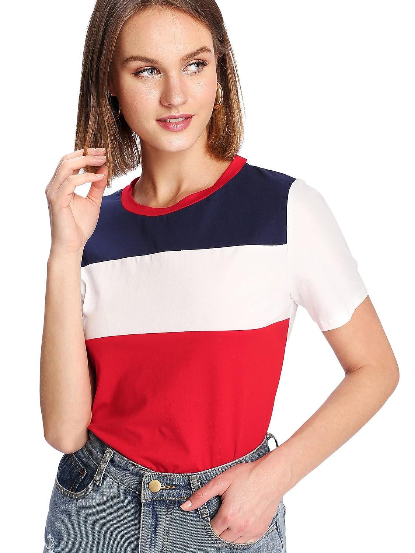 WDIRARA Women s Summer Color Block Blouse Short Sleeve Casual Preppy Tee  Shirt Top at Amazon Women s Clothing store  5e09a1304