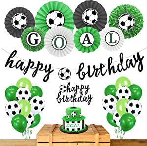 Hombae Soccer Birthday Party Decorations Supplies, Soccer Ball Birthday Party Supplies, Soccer Ball Birthday Banner Cake Topper Balloons for Girls Boys Kids 1st 2nd 3rd 4th Bday Decor.