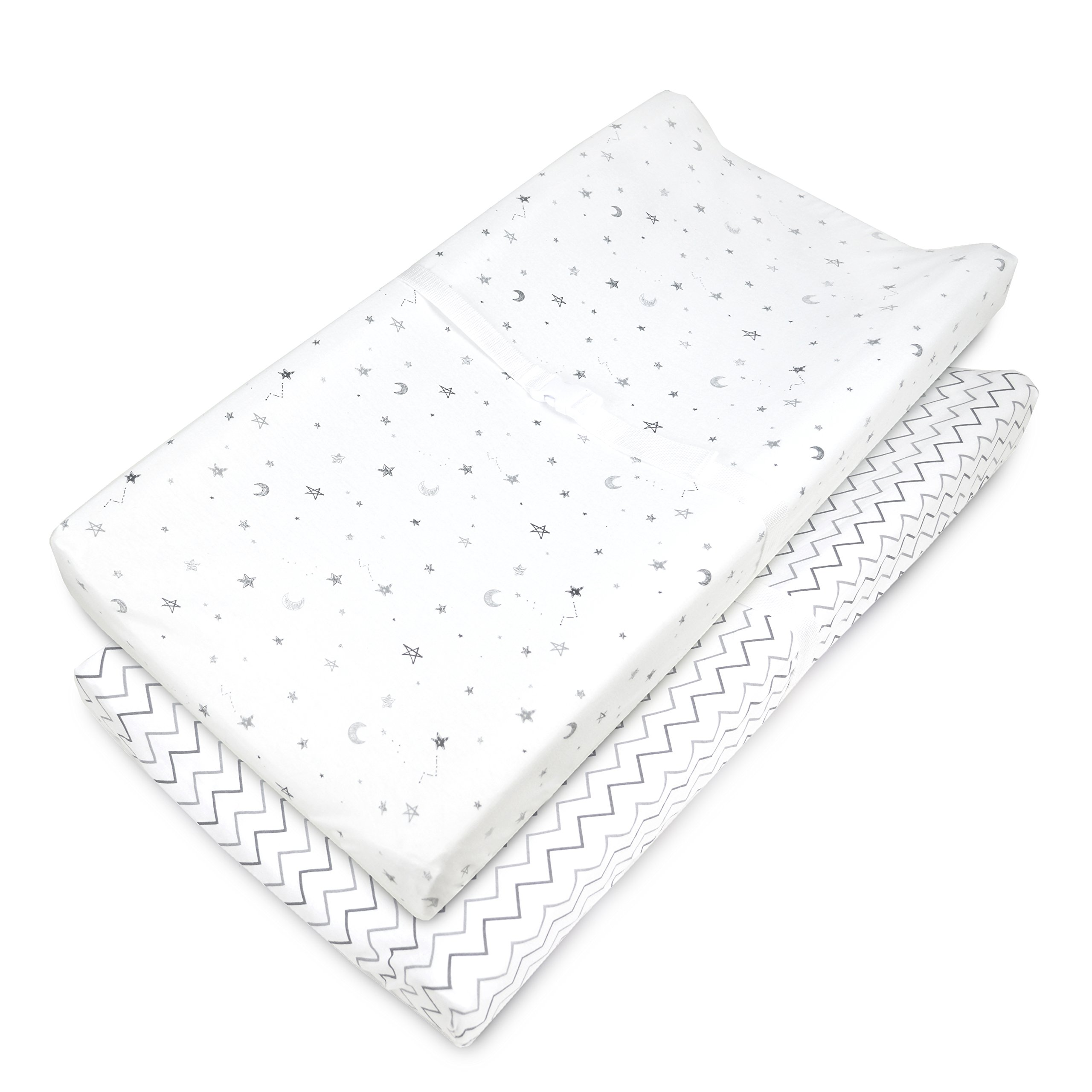 American Baby Company 2 Piece Printed 100% Cotton Jersey Knit Fitted Contoured Changing Table Pad Cover, also works with Travel Lite Mattress, Grey Stars and Zigzag