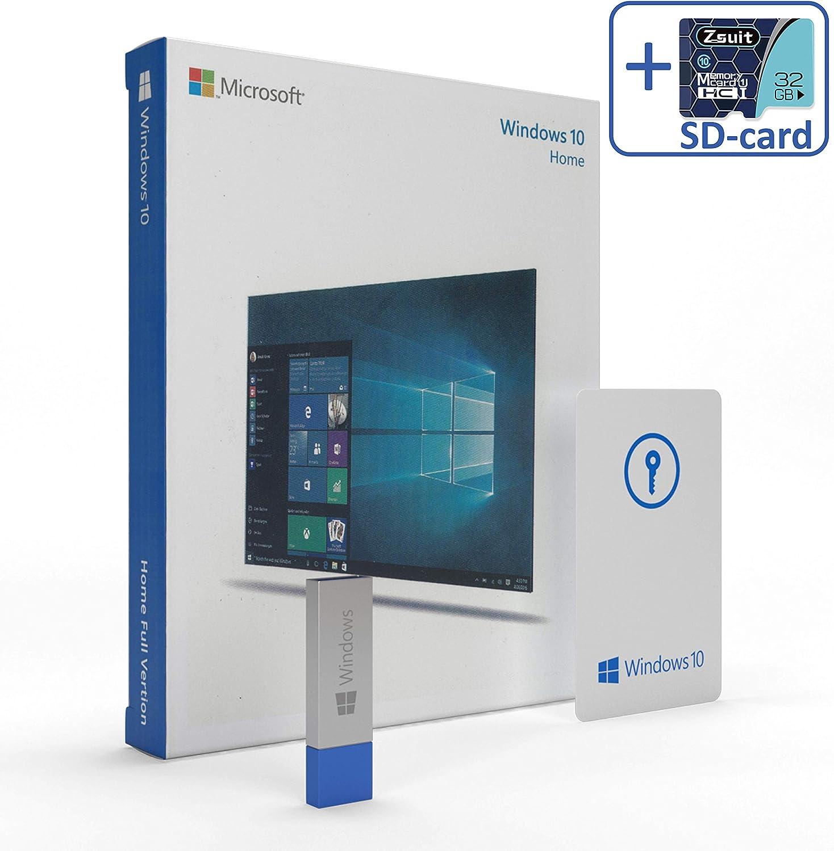 Wíndows 10 Home 64 bit USB BUNDLED WITH Zsuit 32GB MicroSD Card - USB Flash Drive - Wíndows 10 Home 32 bit / 64 bit New - 1 PC - English