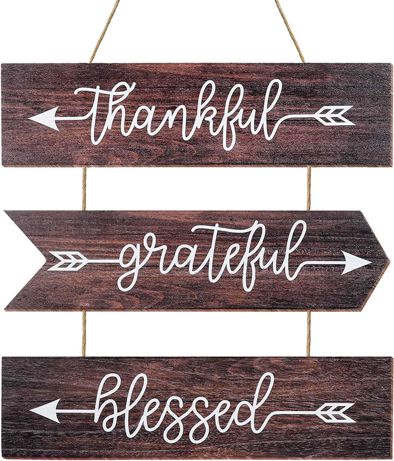 Youyole 3 Pieces Rustic Farmhouse Wooden Hanging Wall Signs Thankful Grateful Blessed Wood Sign Quotes Hanging Wall Sign for Home Wall Farmhouse Home Kitchen Decor, 15 x 4 Inches