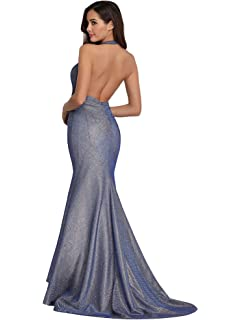 4083df9945b3 Ever Pretty Women s Sexy Halter Deep V Neck Floor Length Long Mermaid Train Evening  Dress 07846