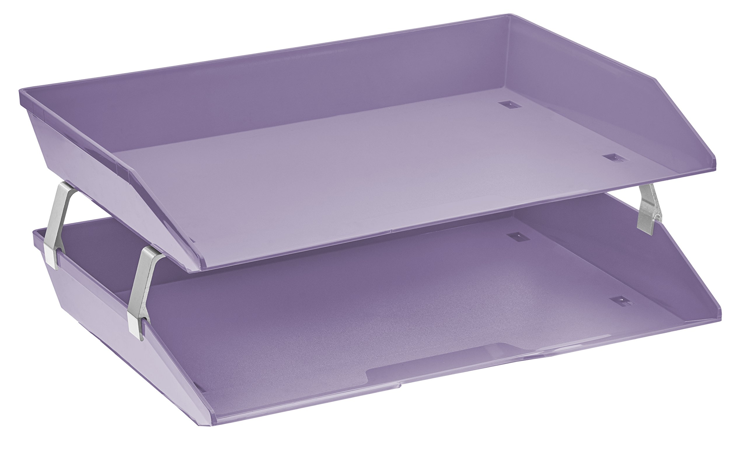 Acrimet Facility 2 Tiers Double Letter Tray (Solid Purple Color)