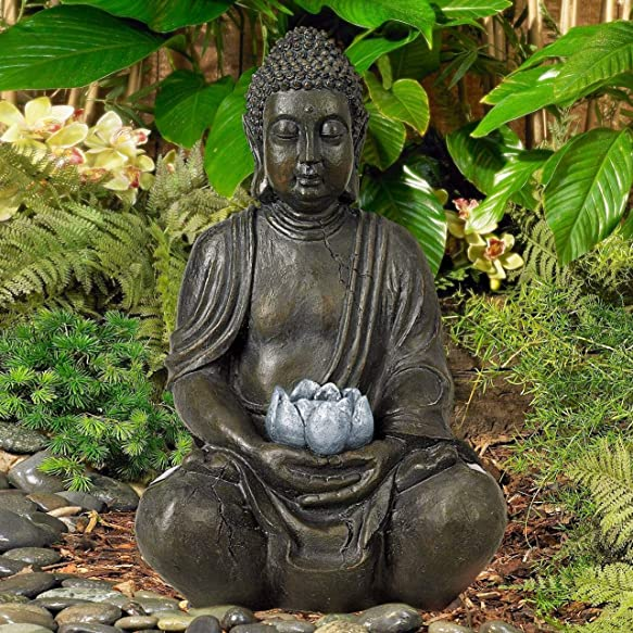 Universal Lighting and Decor Sitting Buddha Asian Zen Outdoor Statue