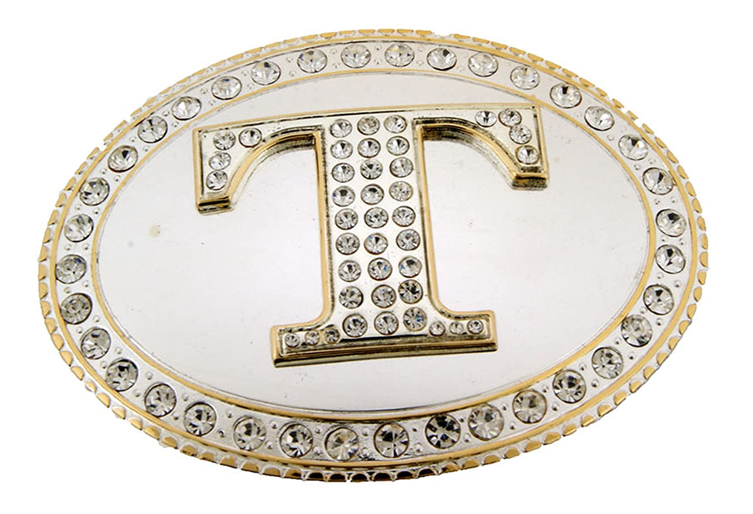 Initial Letter T Western Style Cowboy Rodeo Shiny Costume Halloween Belt Buckle
