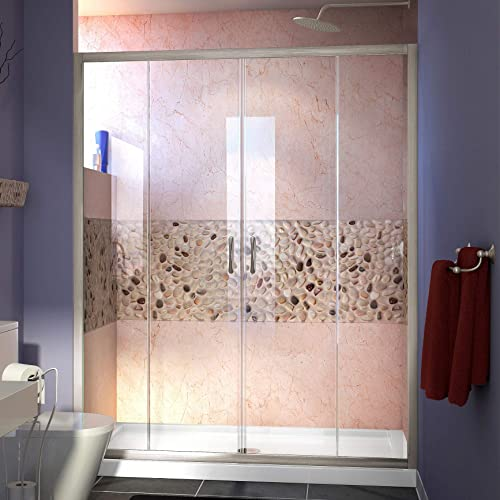 DreamLine Visions 56-60 in. W x 72 in. H Semi-Frameless Sliding Shower Door in Brushed Nickel, SHDR-1160726-04
