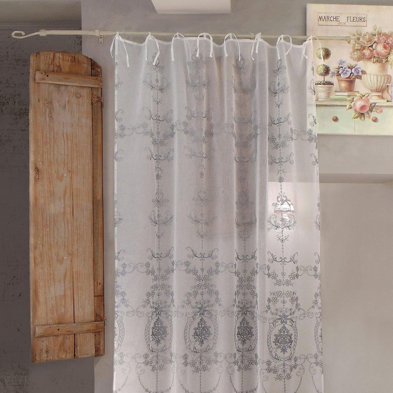 AT17 Tenda Shabby Chic Poliestere Ricamata 140 x 270 Colore off White Ricamo Grigio Voile Comete Collection
