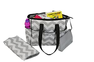 5.    Diaper Bag Tote Chevron With Changing Mat by NimNik