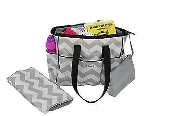 designer baby boy diaper bags eqe9  NimNik Baby Premium Diaper Tote Bag Chevron w/ Changing Mat, Designer  Diapers Bag for