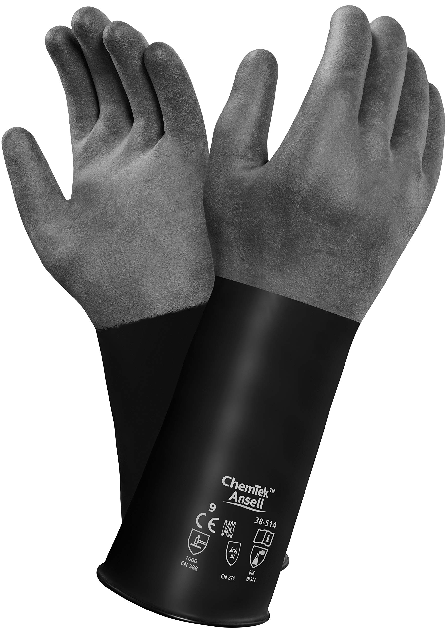 Ansell 103203 Chemtek Smooth Finish Butyl Glove with Beaded Cuff, Capacity, Volume, Butyl, 9, Black
