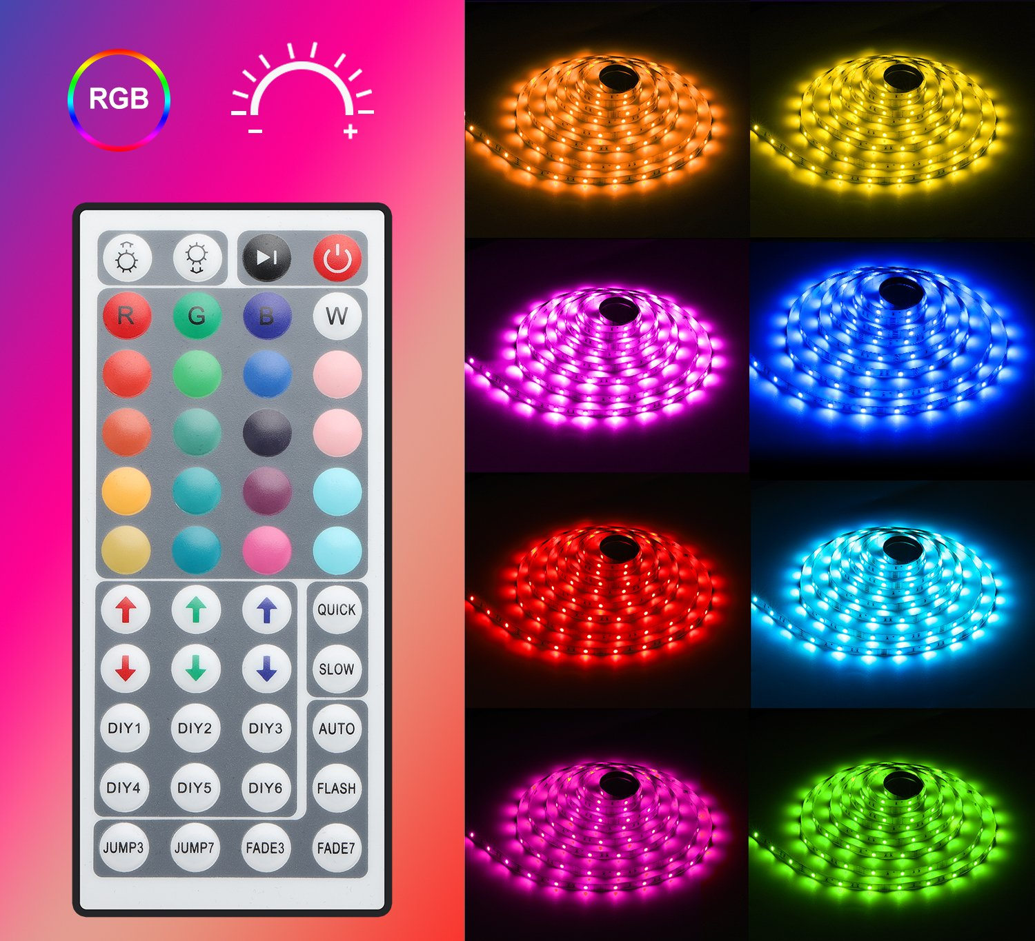 MINGER LED Strip Light Waterproof 16.4ft RGB SMD 5050 LED Rope Lighting Color Changing Full Kit with 44-keys IR Remote Controller & Power Supply Led Strip Lights for Home Kitchen Bed Room Decoration by MINGER (Image #2)