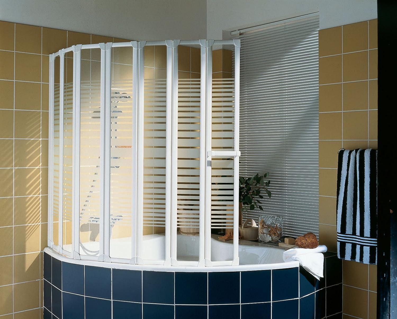 Schulte - Mampara de bañera plegable, 7 puertas giratorias, cristal decorado a rayas, perfil blanco alpino, 159 x 140 cm: Amazon.es: Bricolaje y herramientas