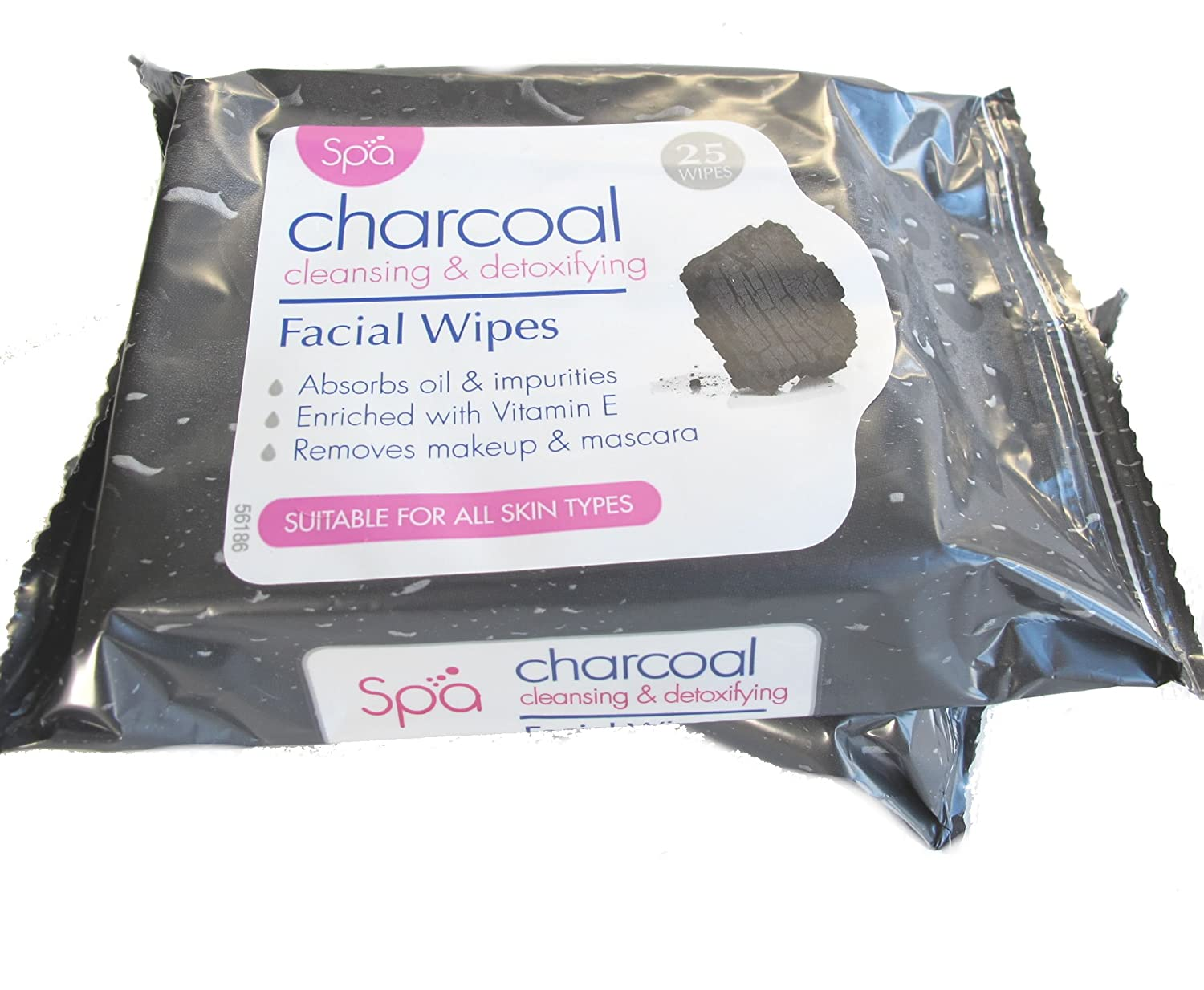 Spa Charcoal Detoxifying and Cleansing Facial Face Make Up Wipes (2 x 25 Packs) Tea Tree