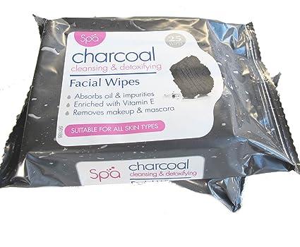 Spa carbón desintoxicación y limpieza facial Rostro Maquillaje Toallitas (2 x 25 Packs)