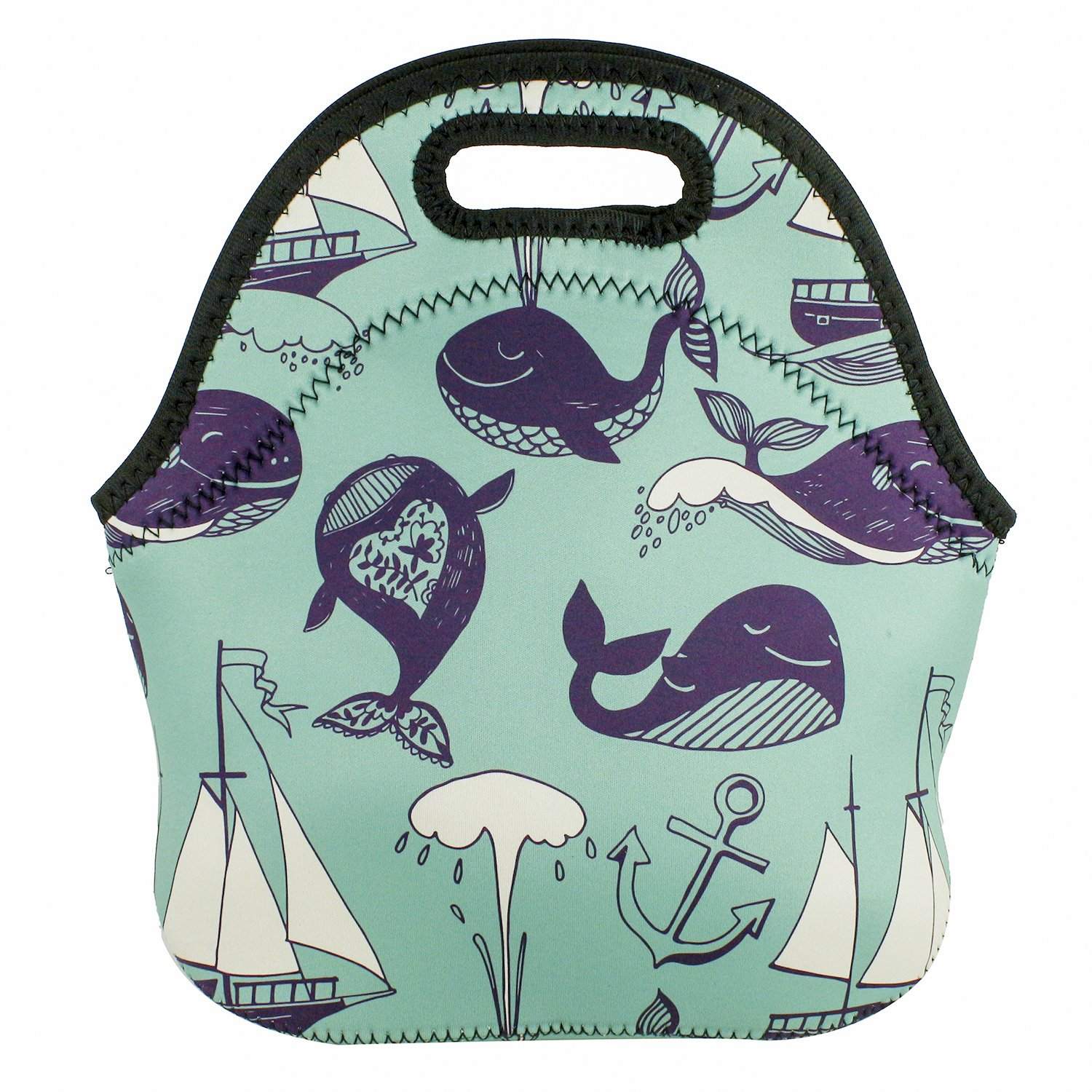 Violet Mist New Tote Insulated Neoprene Lunch Bag Unicorn Cartoon School Office Outdoor Picnic Handbag Food Container for Women Kids Adults Girls Boys (Whale)