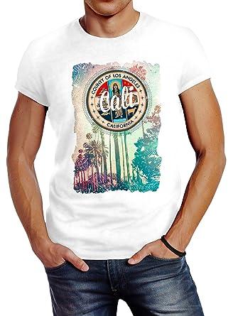 Retro T Neverless Slim California Sunset Fit Palmen Herren Beach Shirt Los Angeles H9E2IWDY