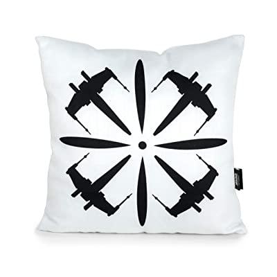 "Seven20 SW11433 Star Wars X-Wing 18"" Square Pillow, White, Black : Garden & Outdoor"