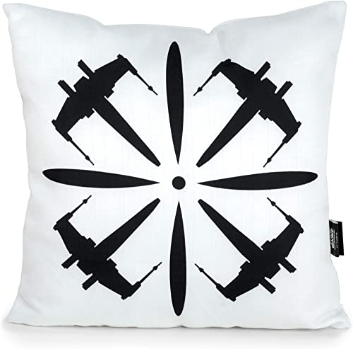 Seven20 SW11433 Star Wars X-Wing 18 Square Pillow, White, Black
