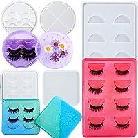 Lauwell 3 Pieces Eyelashes Display Tray Resin Mould False Eyelashes Storage Box Case Mould with Lid Eyelashes Holder…