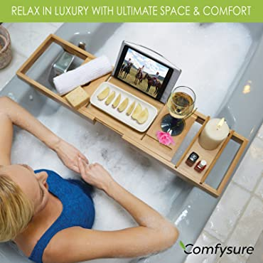 Expandable Bamboo Bathtub Caddy by ComfySure