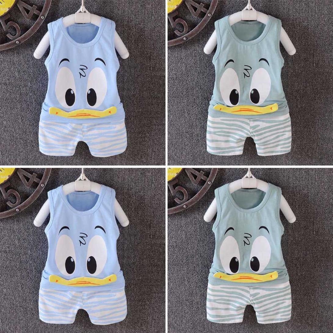 Lurryly 2018 Baby Girls Boys Toddler Cartoon Vest Tops T Shirt Shorts Outfits 2Pcs Set