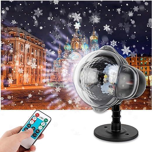 Wilktop Luces Proyector Navidad, Los Copos de Nieve LED Lámpara de ...