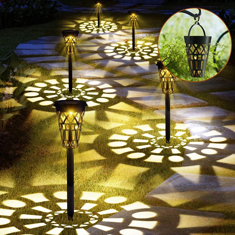 Blibly Solar Pathway Lights, 6 Packs Solar Lights Outdoor Garden Decorative Waterproof Solar Powered Landscape Lighting for Walkway Sidewalk Driveway Hanging Solar Lights