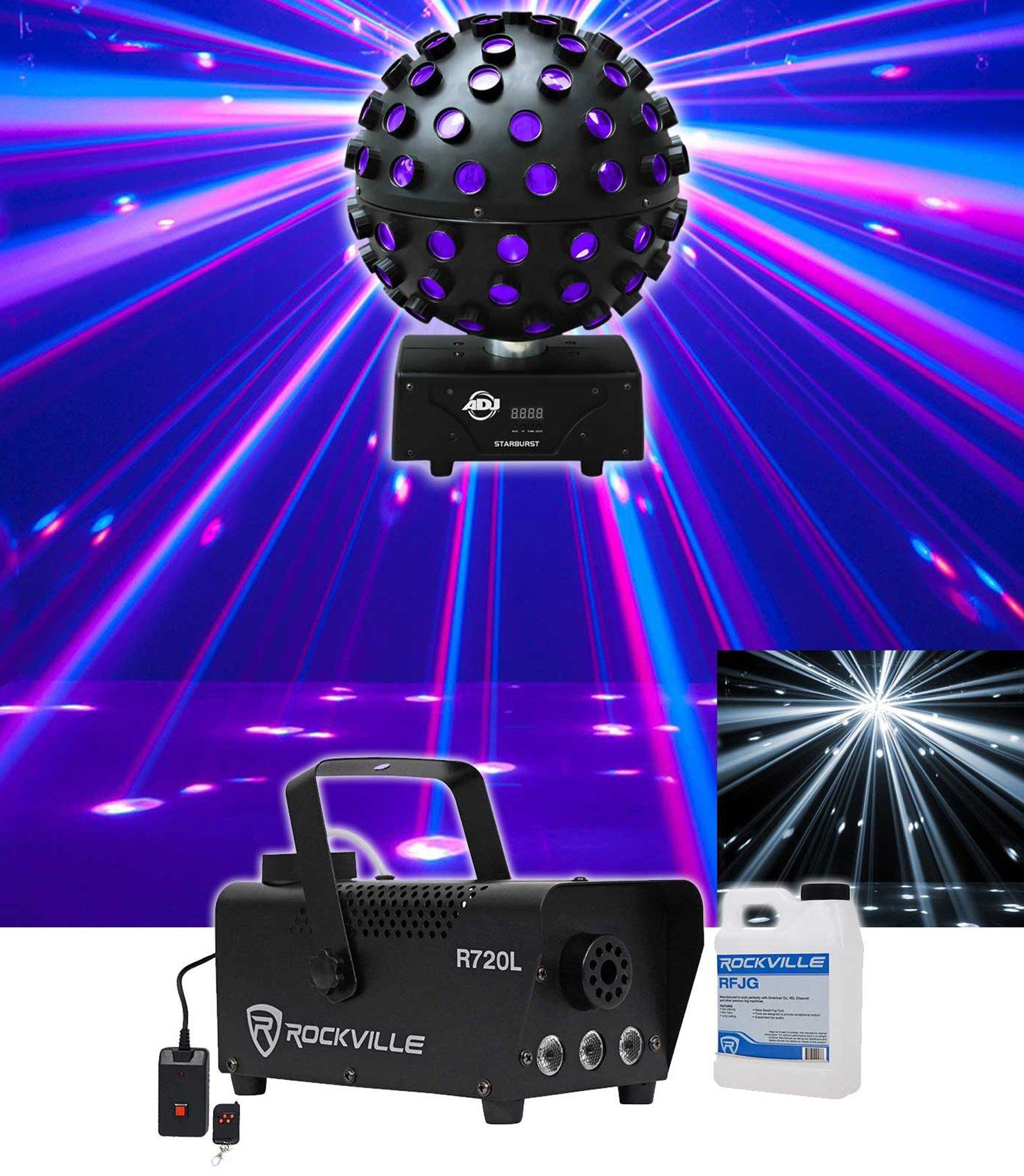 American DJ ADJ Starburst LED Sphere Shooting Beam Lighting Effect+Fog Machine