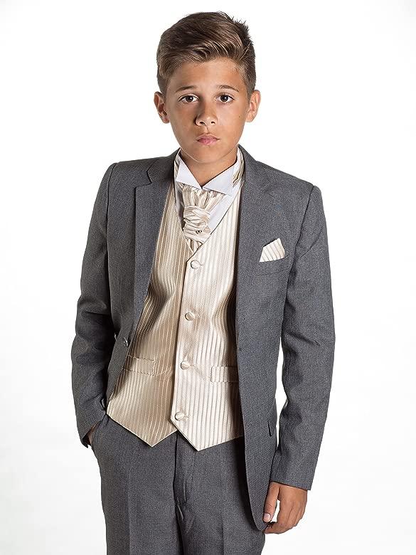 Paisley of London, niños Gris Suit, página Chico Suit, Rayas Chaleco, Corte Slim Suit, 12 – 18 M – 13 años
