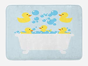 """Lunarable Duckies Bath Mat, Yellow Rubber Poultry Toys Inside a Tub Abstract Cartoon Style Drawing with Bubbles, Plush Bathroom Decor Mat with Non Slip Backing, 29.5"""" X 17.5"""", Yellow Blue"""