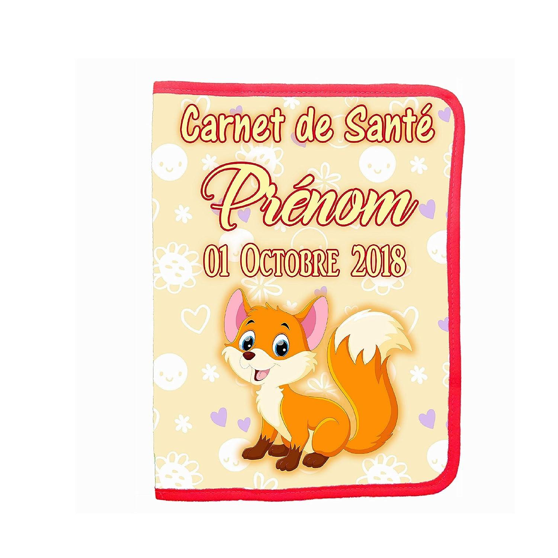 Protège carnet de santé renard bébé personnalise prénom date naissance bébé BB réf 32