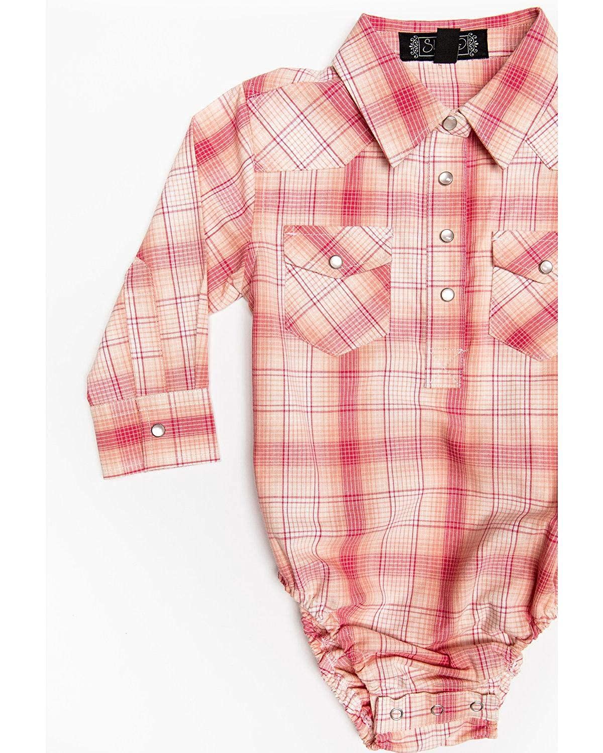 Shyanne Infant-Girls Plaid Embroidered Long Sleeve Western Onesie Sif19w2