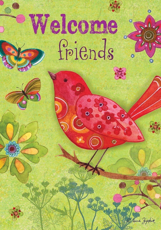 "Butterflies and Birds Spring Garden Flag Primitive Floral 12.5"" x 18"""