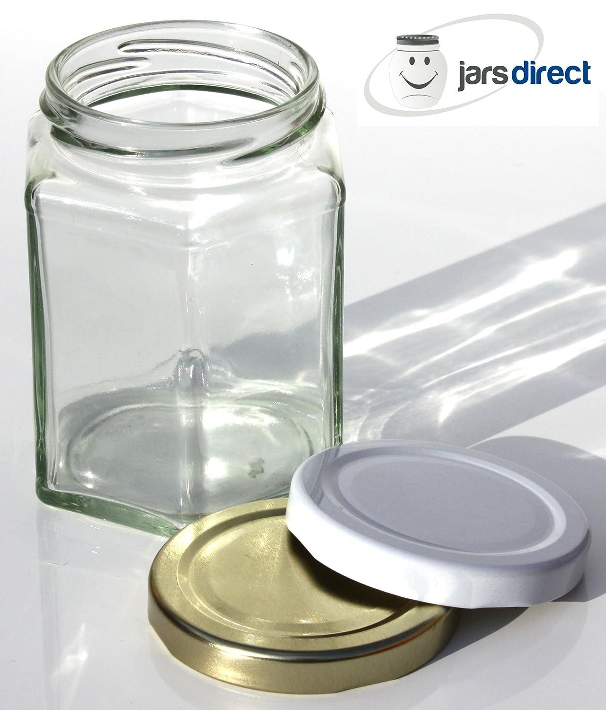 12oz Hexagonal Glass Jars With Gold Lids - QTY 60 Jars Direct 12HEX-QTY60