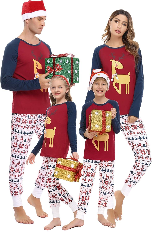 Doaraha Pyjama No/ël Famille Combinaison Hiver Rouge Confortable et Joli Id/éal pour Enfant Femme Homme Fille Garcon Couple S-XXL