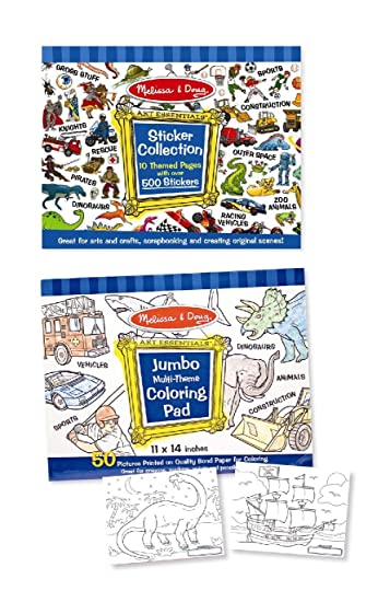 melissa doug sticker and jumbo coloring pads set animals sports vehicles - Melissa And Doug Coloring Book