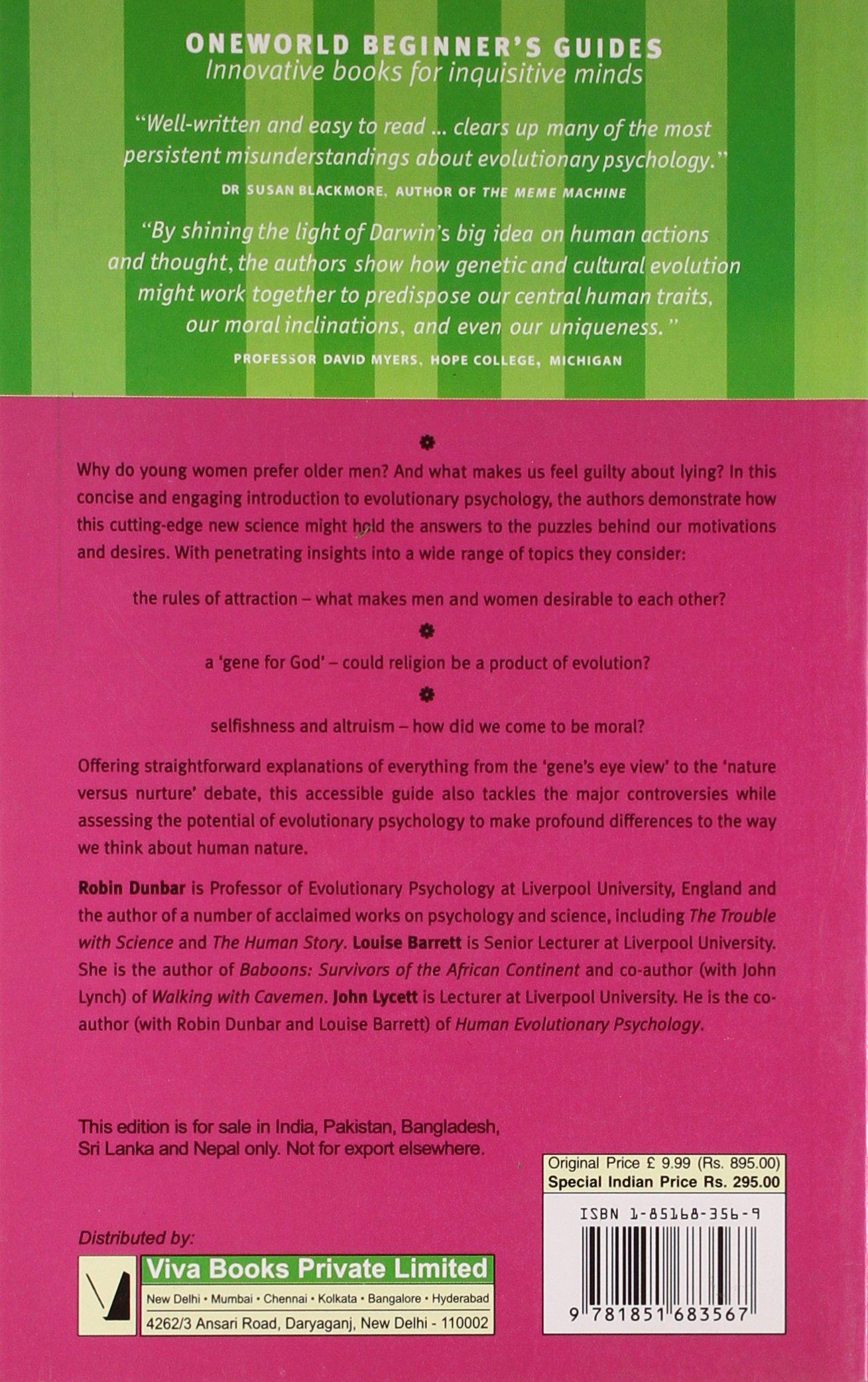 Evolutionary Psychology A Beginners Guide Guides Robin Dunbar Louise Barrett John Lycett 9781851683567 Amazon Books