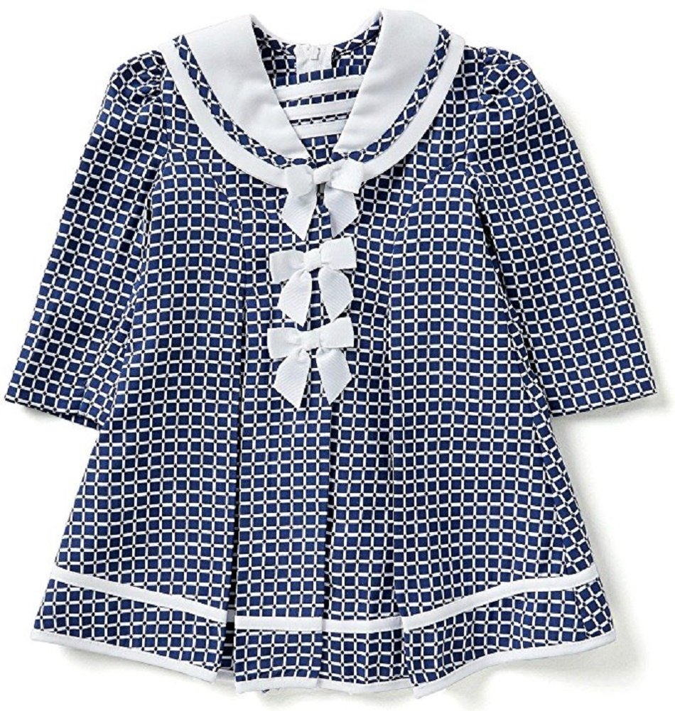 Bonnie Jean Baby Little Girls Christmas Holiday Easter Birthday Dress Coat (3T, Navy)