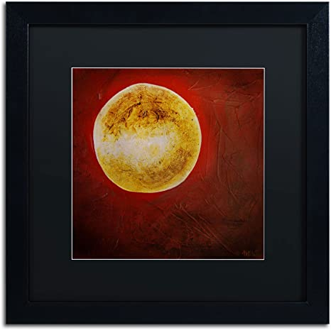 Moon On Red Art By Nicole Dietz In Black Frame Acrylic Paper 16 By 16 Inch Black Matte Home Kitchen