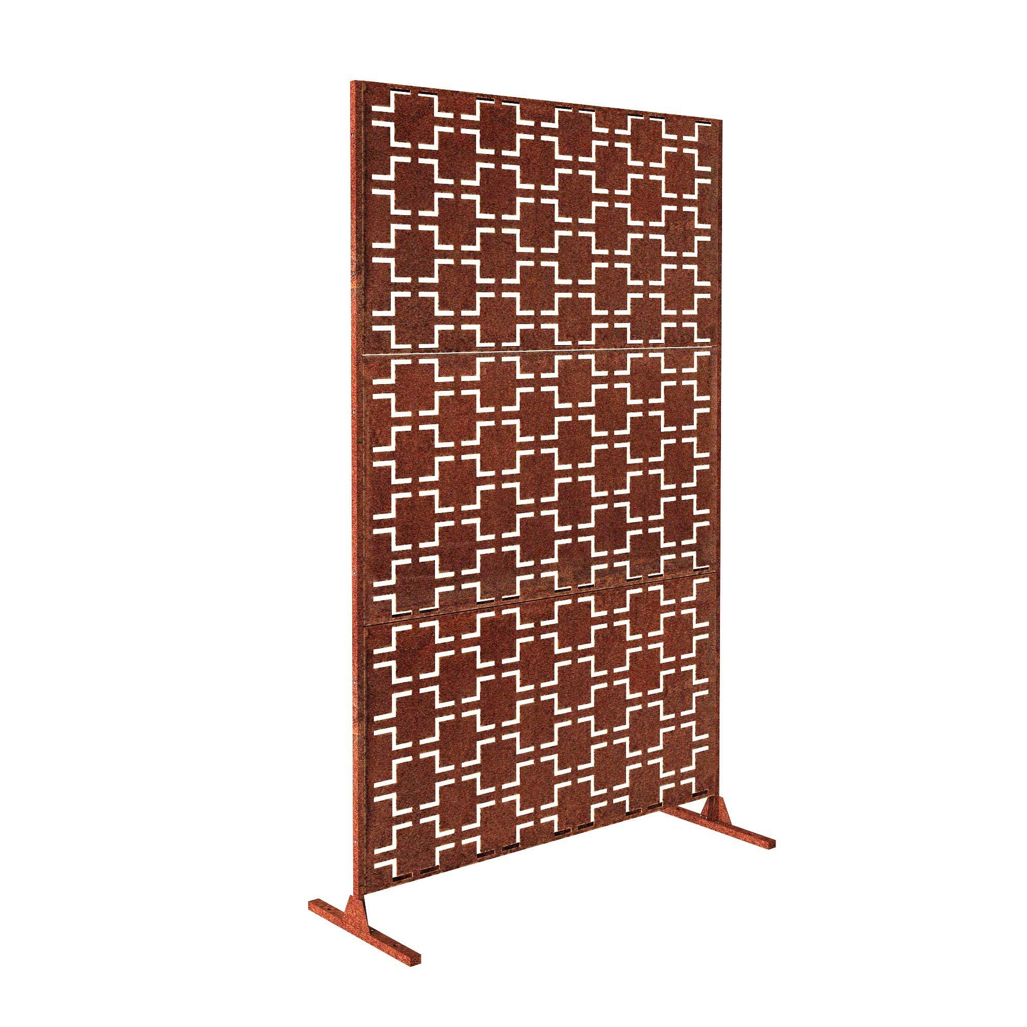 Veradek Quadra Decorative Screen Set w/Stand - Corten Steel