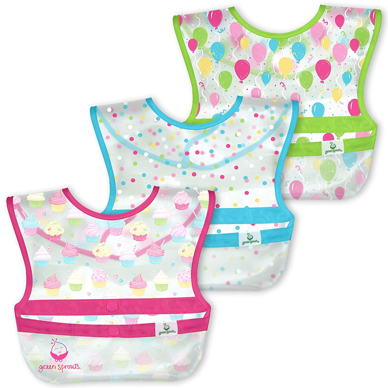 green sprouts Snap & Go Wipe-Off Bibs (3 Pk)   Waterproof Protection for Messy Eaters   Neatly Rolls Up for Mess & Utensil Storage, Flipped Pocket Stays Extended to Catch Spills, Easy Clean, Pink
