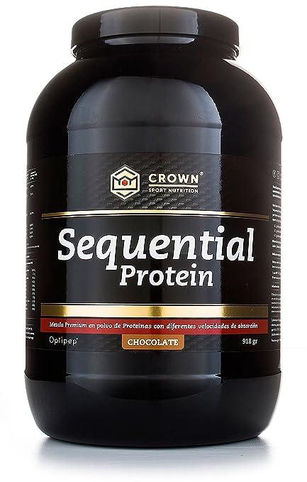 Crown Sport Nutrition Sequential Protein, Suplemento de proteína para antes de dormir para Deportistas,