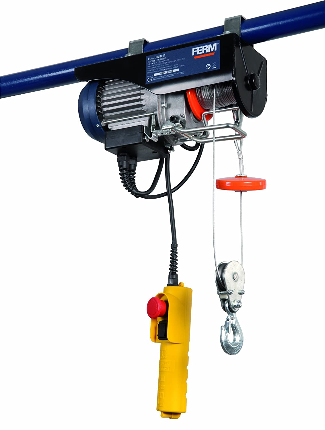 FERM LHM1011 Electric Lever Hoist - Garage Hoist - 500W - Max. lifting 250Kg - 550Lbs - Max. Lifting Height 12 Metre